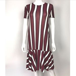 Zara Striped Short Sleeve Dress With Frill Hem